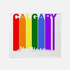 Calgary Alberta Gay Pride Rainbow Skyline Throw Bl