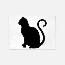 Black Cat Silhouette 5'x7'area Rug