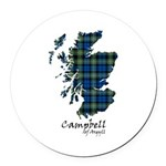 Map - Campbell of Argyll Round Car Magnet