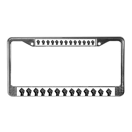 Black Fists License Plate Frame