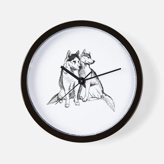 Cute Siberian huskies Wall Clock