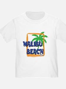 Malibu Beach Palm Tree Womens Fitted Tshirt (dark)