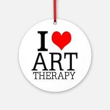 I Love Art Therapy Round Ornament