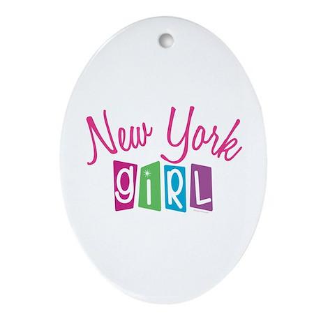 NEW YORK GIRL! Oval Ornament