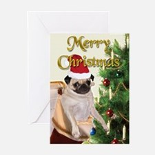 CARD -  Pug Christmas Stocking (Pk of 10)