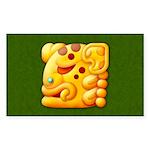 Fiery Maya Jaguar Head Rectangle Sticker