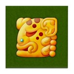Fiery Maya Jaguar Head Tile Coaster