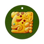 Fiery Maya Jaguar Head Ornament (Round)