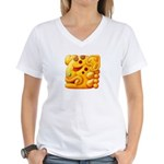 Fiery Maya Jaguar Head Women's V-Neck T-Shirt