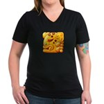 Fiery Maya Jaguar Head Women's V-Neck Dark T-Shirt