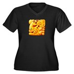 Fiery Maya Jaguar Head Women's Plus Size V-Neck Da