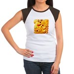 Fiery Maya Jaguar Head Women's Cap Sleeve T-Shirt