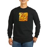 Fiery Maya Jaguar Head Long Sleeve Dark T-Shirt
