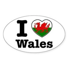 I love Wales Oval Decal