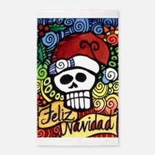 Day of the Dead Feliz Navidad Sugar Skull Area Rug