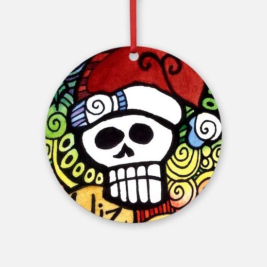 Day of the Dead Feliz Navidad Sugar Round Ornament