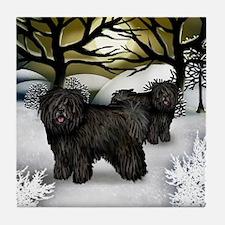 BLACK PULI DOGS WINTER SUNSET Tile Coaster