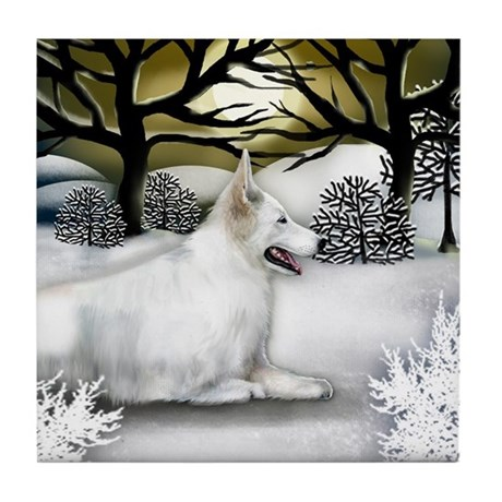 White German Shepherd Dog Winter Tile Coaster