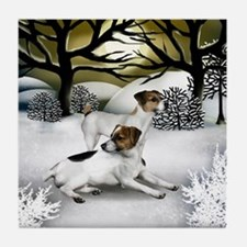 JACK RUSSELL TERRIER DOGS WINTER Tile Coaster