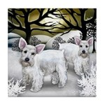 WHITE SCHNAUZER DOGS WINTER Tile Coaster