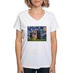 Starry - 2 Briards Women's V-Neck T-Shirt