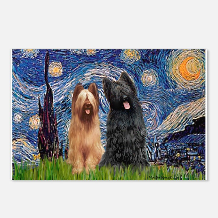 Starry - 2 Briards Postcards (Package of 8)