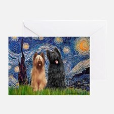 Starry - 2 Briards Greeting Cards (Pk of 20)