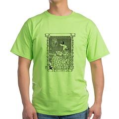 Reading Woman (Renaissance) Green T-Shirt