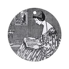 Reading Woman (Renaissance) Ornament (Round)