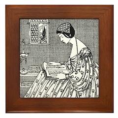 Reading Woman (Renaissance) Framed Tile