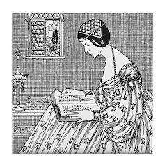 Reading Woman (Renaissance) Tile Coaster