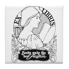 Books Make Best Furniture Tile Coaster
