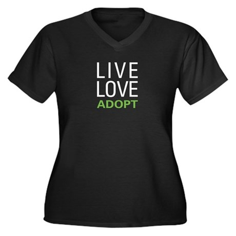 Live Love Ad Women's Plus Size V-Neck Dark T-Shirt