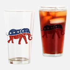 glitter republican elephant Drinking Glass