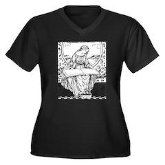 Reading Woman Women's Plus Size V-Neck Dark T-Shir