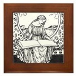 Reading Woman Framed Tile