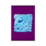 Icy Maya Jaguar Head Rectangle Magnet (100 pack)