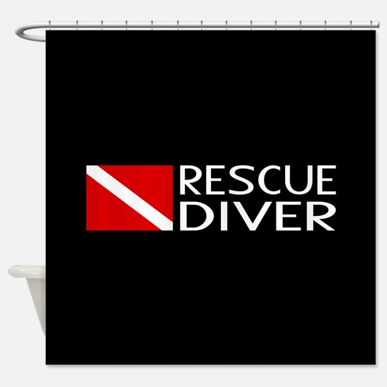 Diving: Diver Flag & Rescue Diver Shower Curtain