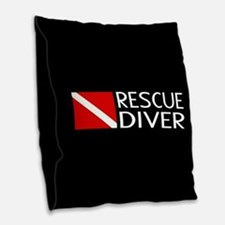 Diving: Diver Flag & Rescue Di Burlap Throw Pillow