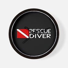 Diving: Diver Flag & Rescue Diver Wall Clock