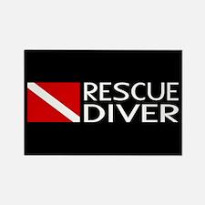 Diving: Diver Flag & Rescue Diver Rectangle Magnet