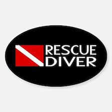 Diving: Diver Flag & Rescue Diver Sticker (Oval)