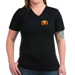 Fiery Maya Jaguar Claw Women's V-Neck Dark T-Shirt