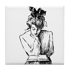 Reading Woman Tile Coaster