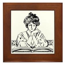 Reading Woman Framed Tile