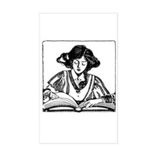 Reading Woman Rectangle Decal