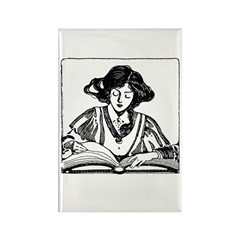 Reading Woman Rectangle Magnet (10 pack)