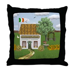 St. Patrick's Day Cottage (Gaelic) Throw Pillow