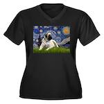 Starry / Bullmastiff Women's Plus Size V-Neck Dark