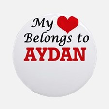 My heart belongs to Aydan Round Ornament